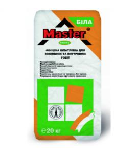 MASTER-FRONT шпатлевка для внутренних и наружных работ 20кг  Беспесчаная белая
